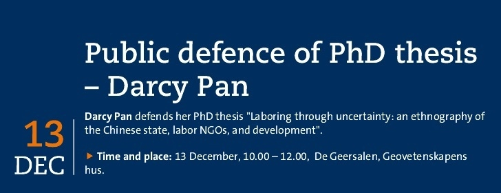 Public defence of PhD thesis – Darcy Pan