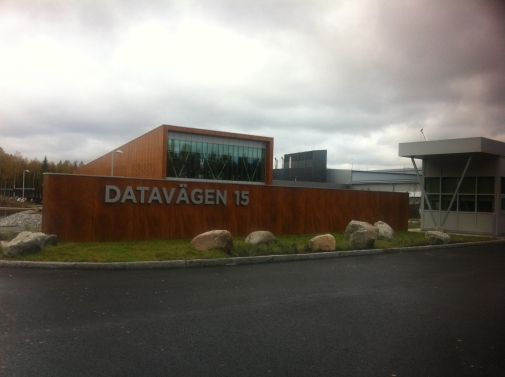 Entrance area of Facebook's second data center building, Datavägen 15 (Data Street 15) in Luleå, September 2015. Photo: Asta Vonderau